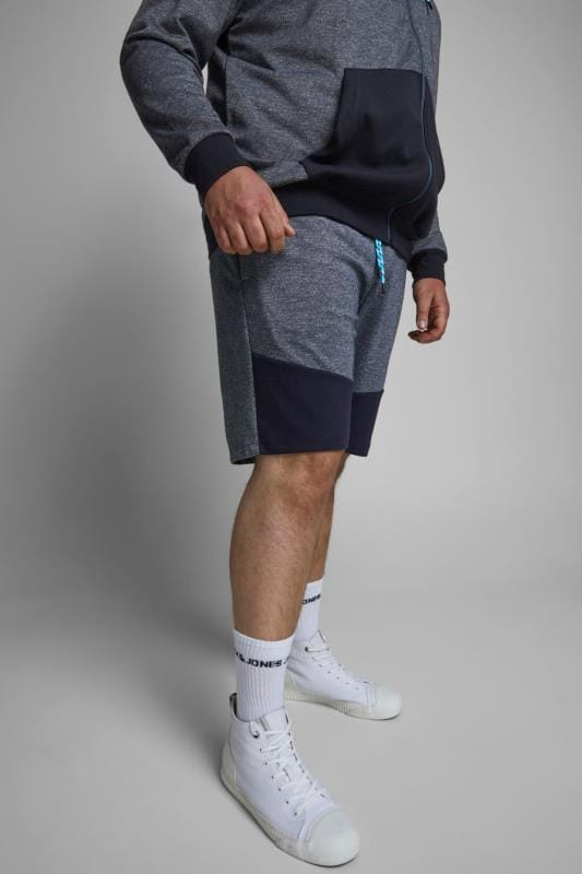 JACK & JONES Grey & Blue Jogger Shorts