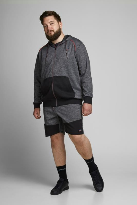 Plus Size Plain JACK & JONES Grey & Red Jogger Shorts