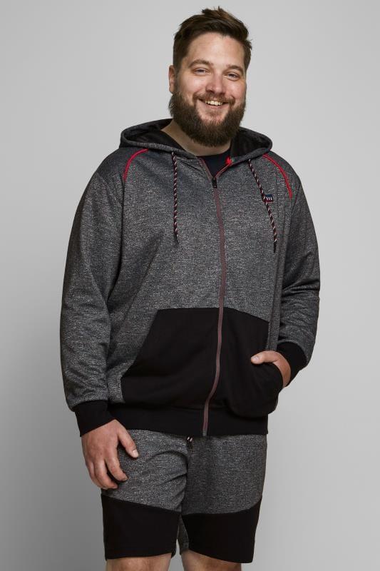 Plus Size Printed & Patterned Dresses JACK & JONES Grey & Red Zip Through Hoodie