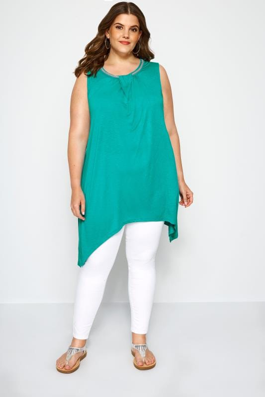 Jade Beaded Hanky Hem Vest Top