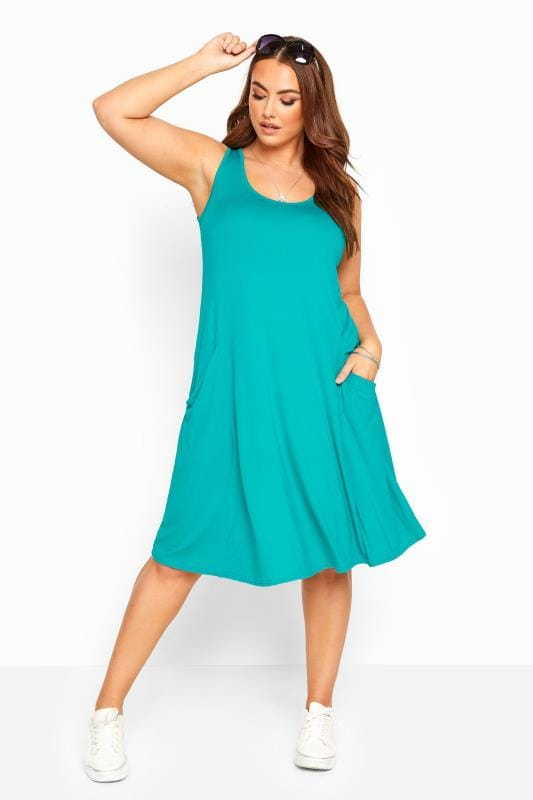 Plus Size Casual / Every Day Jade Green Sleeveless Drape Pocket Dress