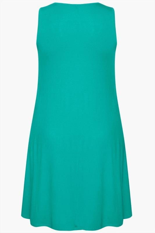 Jade Green Sleeveless Drape Pocket Dress
