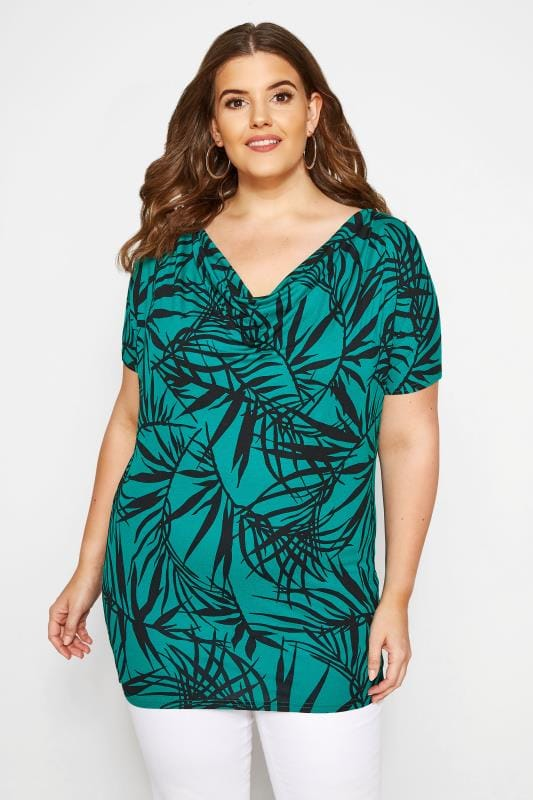Plus Size Jersey Tops Jade Tropical Print Cowl Neck Top