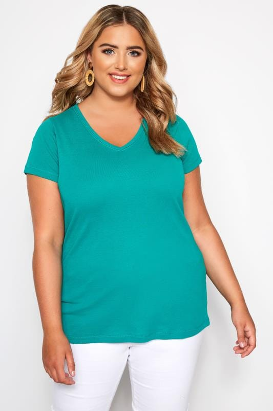 Plus Size Basic T-Shirts & Vests Jade V-Neck T-Shirt