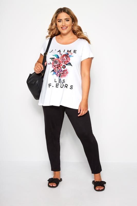 SIZE UP White 'J'aime Les Fleurs' Slogan T-Shirt