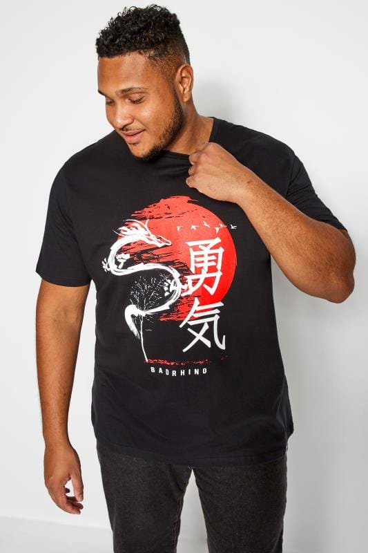 BadRhino Black Japanese Graphic Print T-Shirt