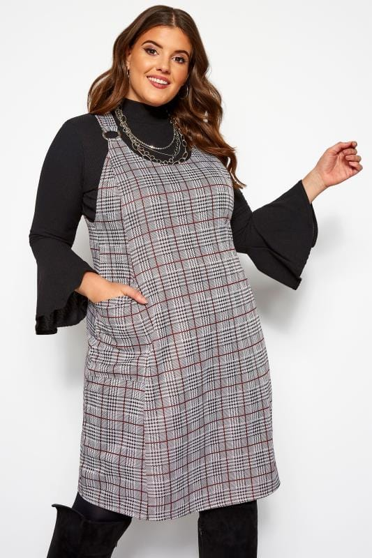 Plus Size Pinafore Dresses Grey Check Pinafore Dress