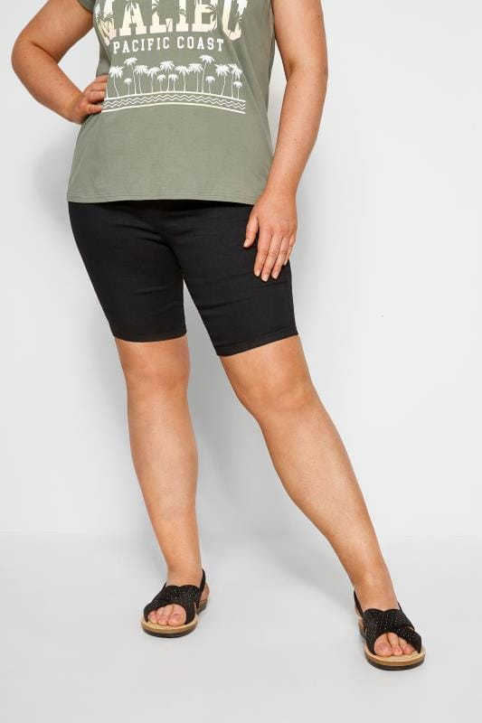Große Größen Jeansshorts JENNY Jegging Shorts - Schwarz
