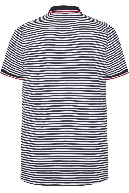 BadRhino White and Navy Stripe Polo
