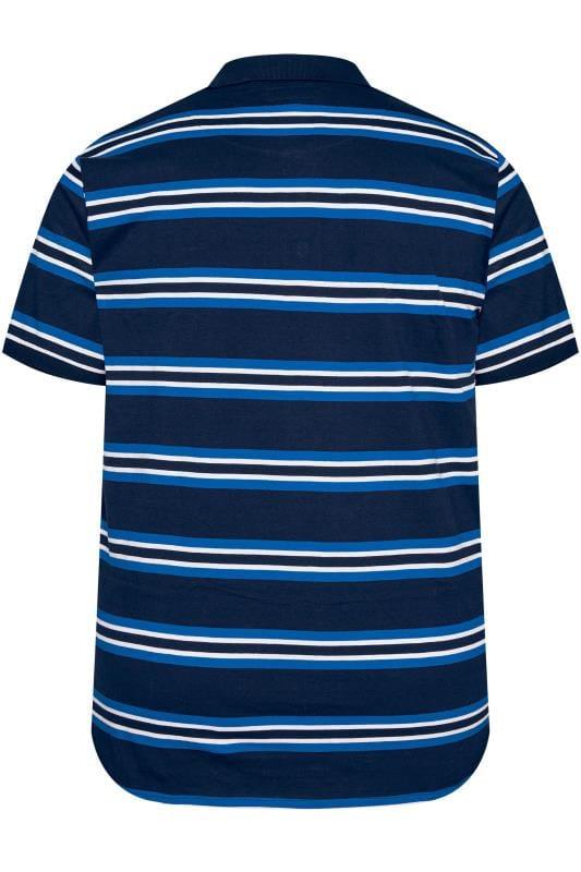 BadRhino Navy & Blue Striped Polo Shirt