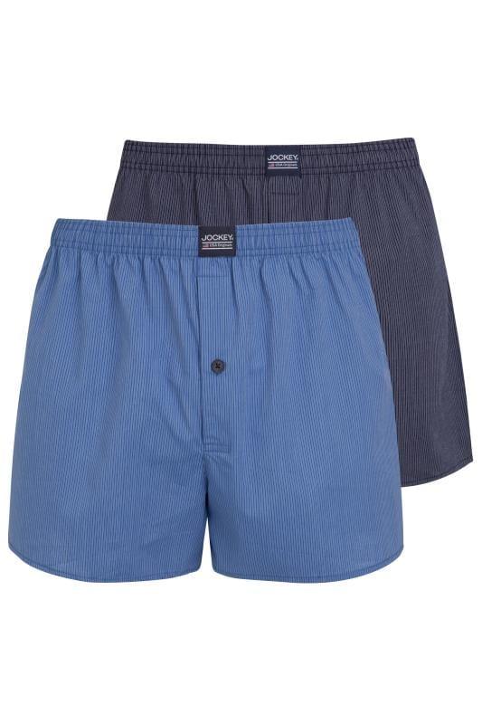 Plus-Größen Bracelets JOCKEY 2 PACK Blue Woven Pinstripe Boxers