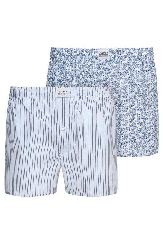 Plus Size Bracelets JOCKEY 2 PACK White & Blue Woven Paisley & Striped Boxers