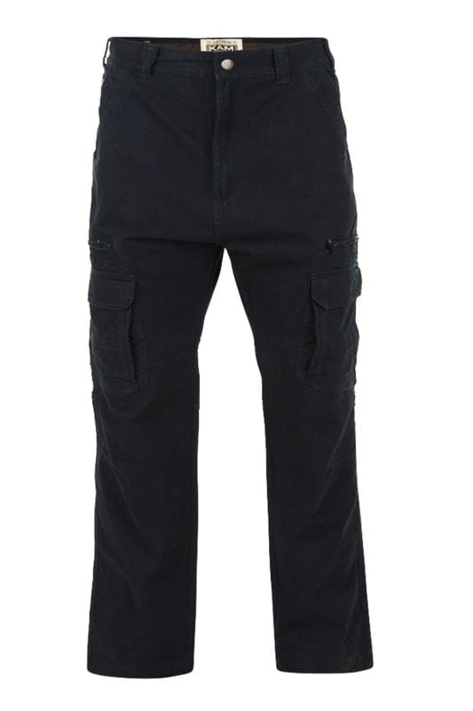 Plus Size Cargo Trousers KAM Black Cargo Trousers