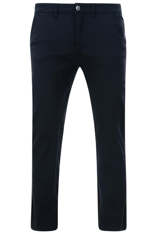 Chinos & Cords Grande Taille KAM Navy Chino Trousers