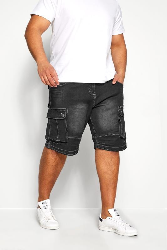 Plus Size Denim Shorts KAM Black Cargo Denim Shorts