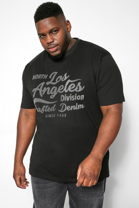 KAM Black Los Angeles Slogan T-Shirt