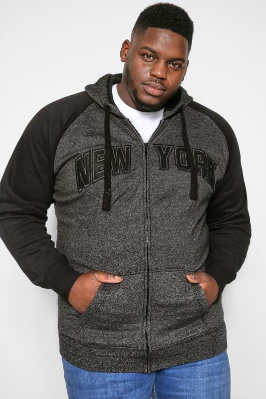 Hoodies dla puszystych KAM Black NYC Zip Through Hoodie