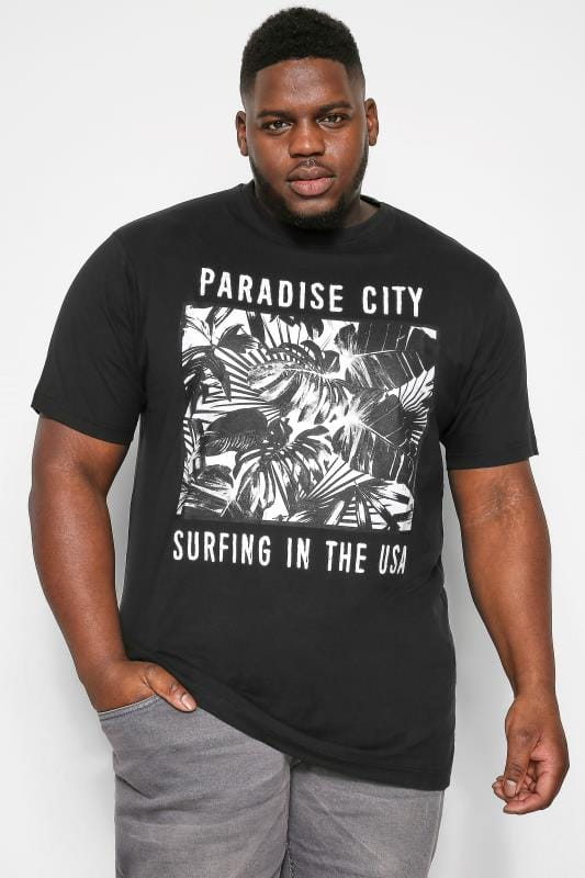 T-Shirts KAM Black Paradise Graphic Print T-Shirt 202596