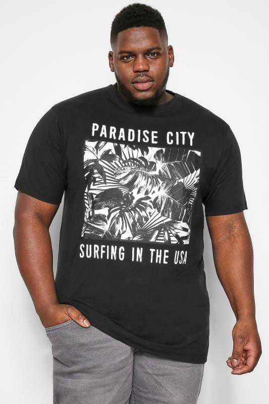 Plus Size T-Shirts KAM Black Paradise Graphic Print T-Shirt
