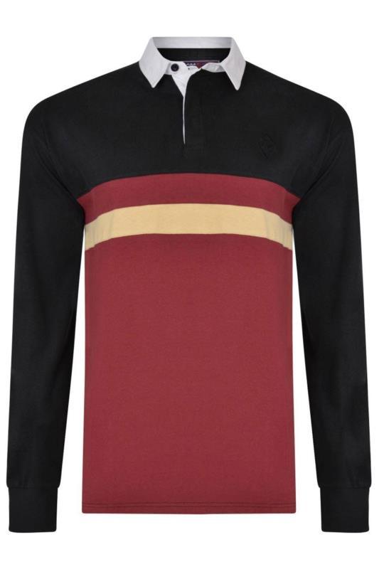 Plus Size Polo Shirts KAM Black Stripe Rugby Polo Shirt