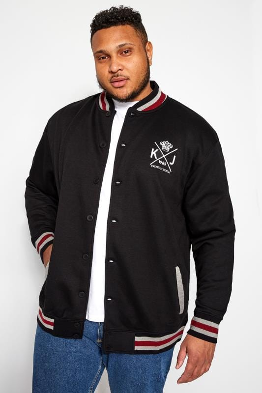 Plus Size Casual / Every Day KAM Black Varsity Sweatshirt