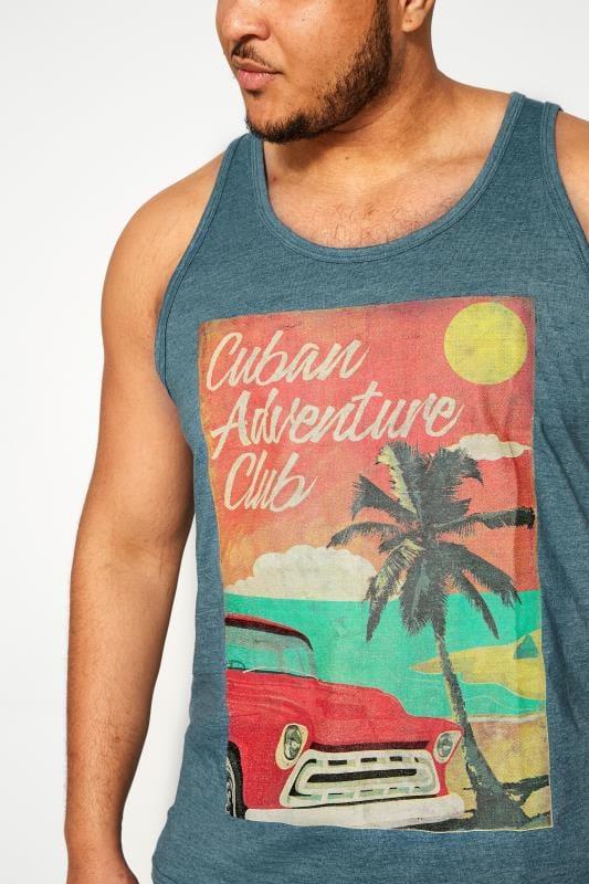 KAM Blue Cuban Graphic Print Vest