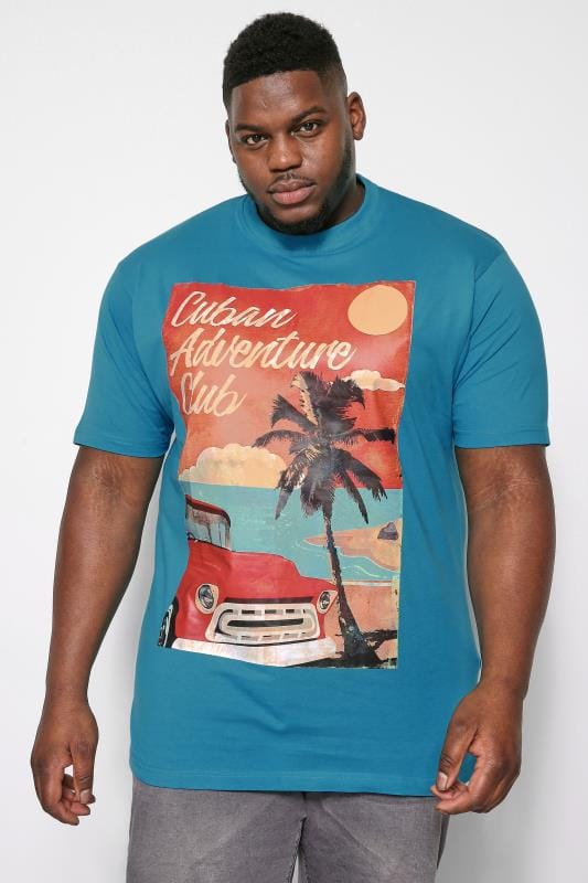 T-Shirts KAM Blue Cuban Print T-Shirt 202597