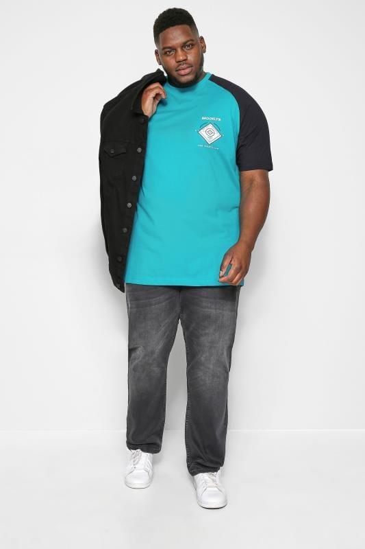 KAM Blue Raglan Graphic T-Shirt