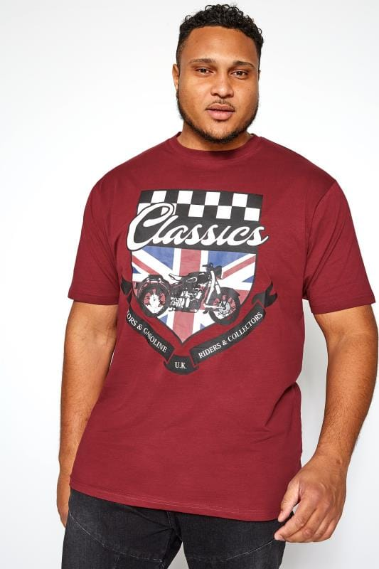 Plus Size T-Shirts KAM Burgundy Motorcycle Graphic Printed T-Shirt