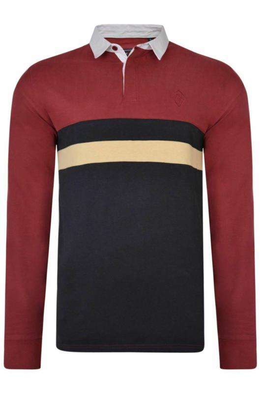 Plus Size Polo Shirts KAM Burgundy Stripe Rugby Polo Shirt