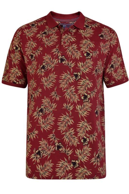 Plus Size Polo Shirts KAM Burgundy Tropical Print Polo Shirt