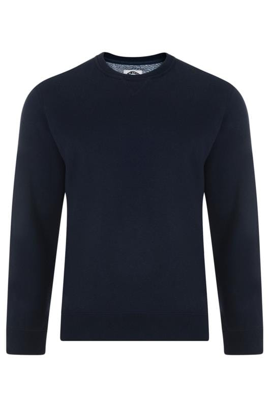Jumpers Grande Taille KAM Navy Crew Neck Knitted Jumper