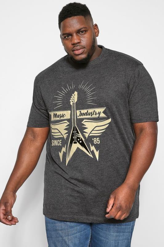 KAM Charcoal Grey Guitar Graphic Print T-Shirt
