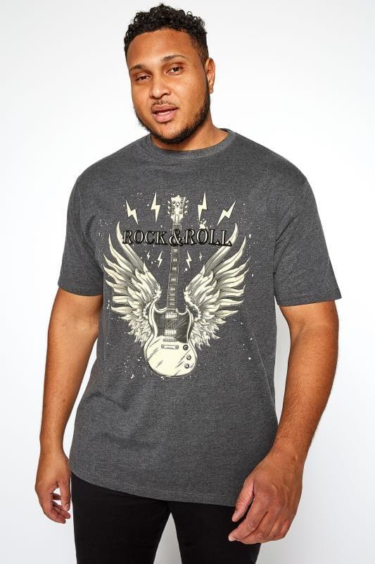 T-Shirts KAM Charcoal Grey 'Rock N Roll' Printed T-Shirt 201924