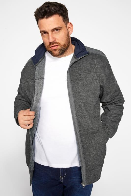 Jackets dla puszystych KAM Charcoal Grey Zip Through Jacket