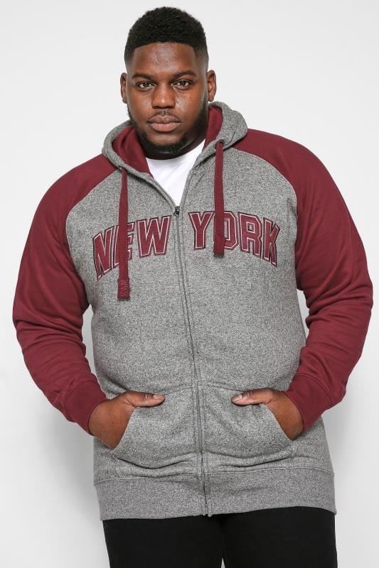 Hoodies KAM Charcoal NYC Zip Through Hoodie 202821