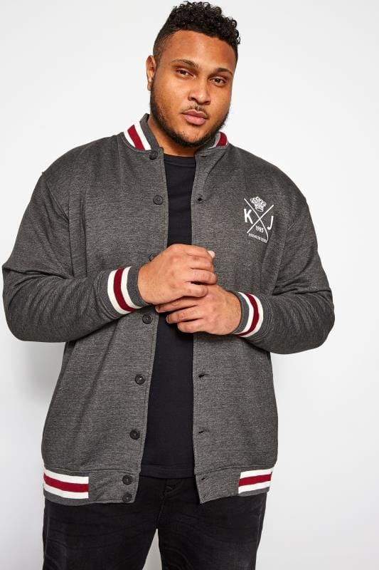 Plus-Größen Casual / Every Day KAM Charcoal Varsity Sweatshirt