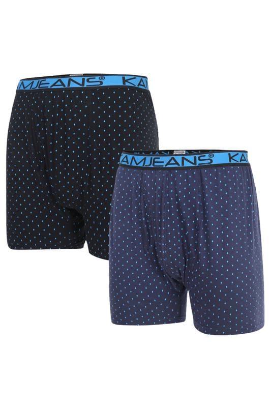Men's Boxers & Briefs KAM 2 PACK Navy Printed Boxers