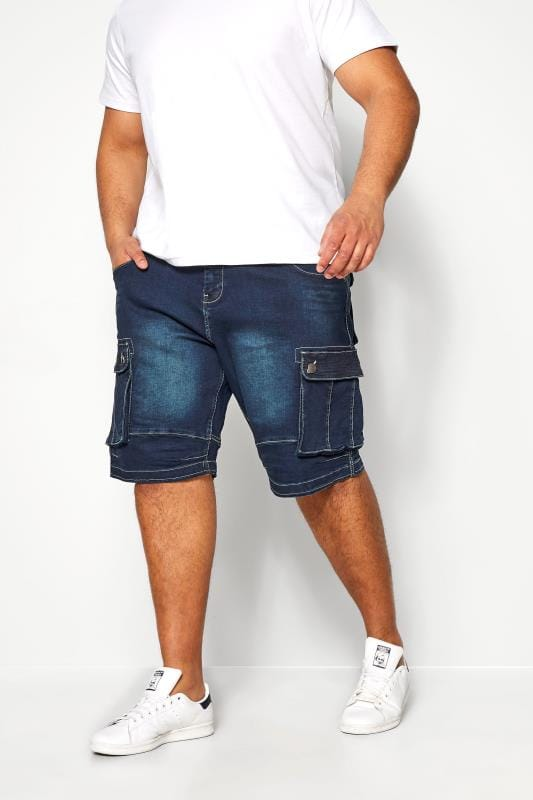 Plus-Größen Denim Shorts KAM Dark Blue Cargo Denim Shorts