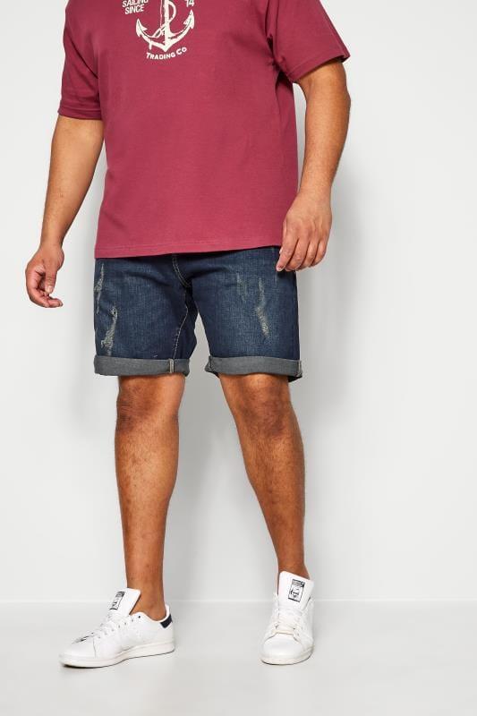 KAM Dark Blue Distressed Denim Shorts