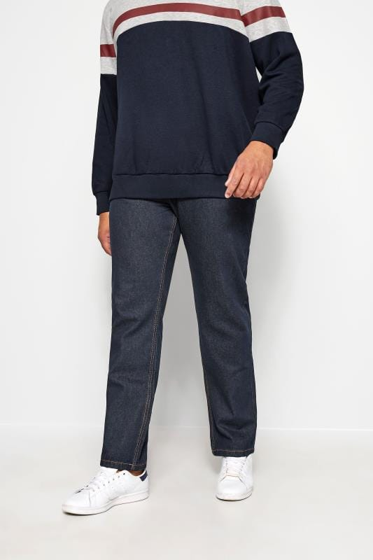 Plus-Größen Straight KAM Indigo Blue Regular Fit Stretch Jeans