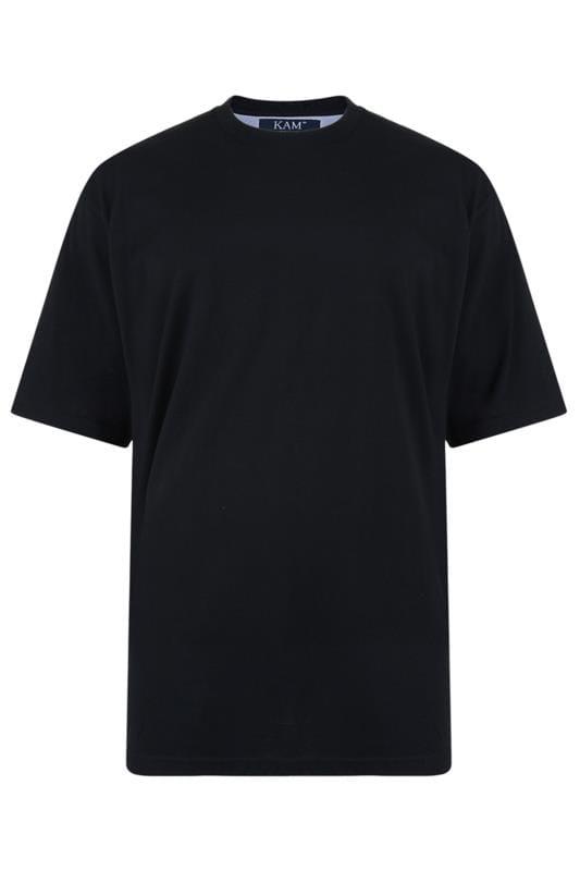 Men's T-Shirts KAM Black Plain T-Shirt