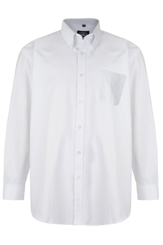Großen Größen Smart Shirts KAM White Oxford Long Sleeve Shirt