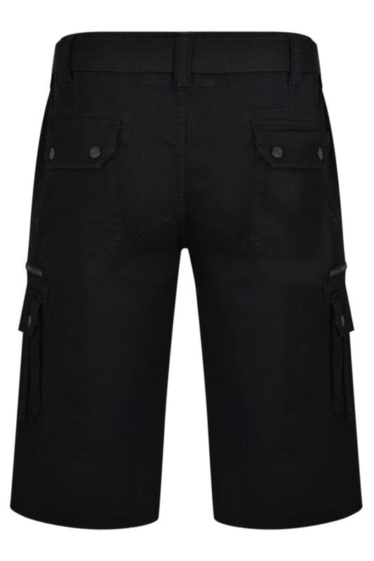 KAM Black Canvas Cargo Shorts