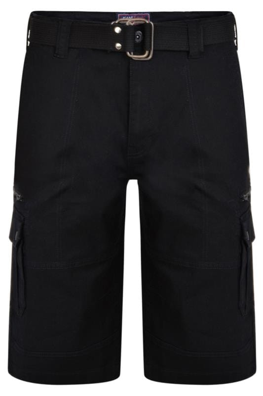 Men's Cargo Shorts KAM Black Canvas Cargo Shorts