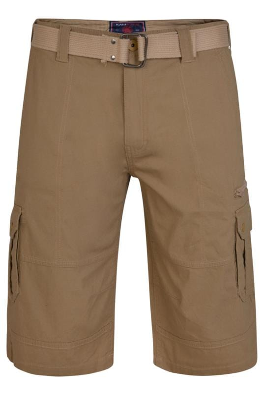 KAM Brown Canvas Cargo Shorts