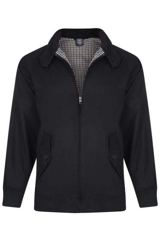 Plus Size Jackets KAM Black Harrington Jacket