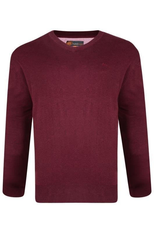 Men's Jumpers KAM Wine Long Sleeve Knitted Jumper