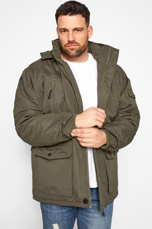 Plus Size Coats KAM Khaki Faux Fur Parka Coat