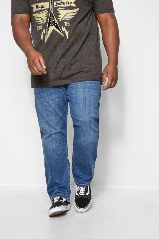 Plus Size Slim Tapered KAM Mid Blue Stretch Jeans